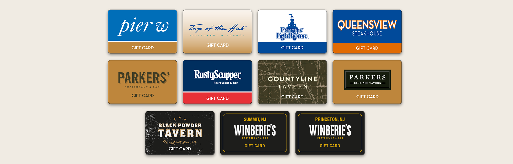 Purchase Giftcards for Pier W, Top of the Hub, Parker's, Rusty Scupper, Black Powder Tavern, & Winberries Restaurants